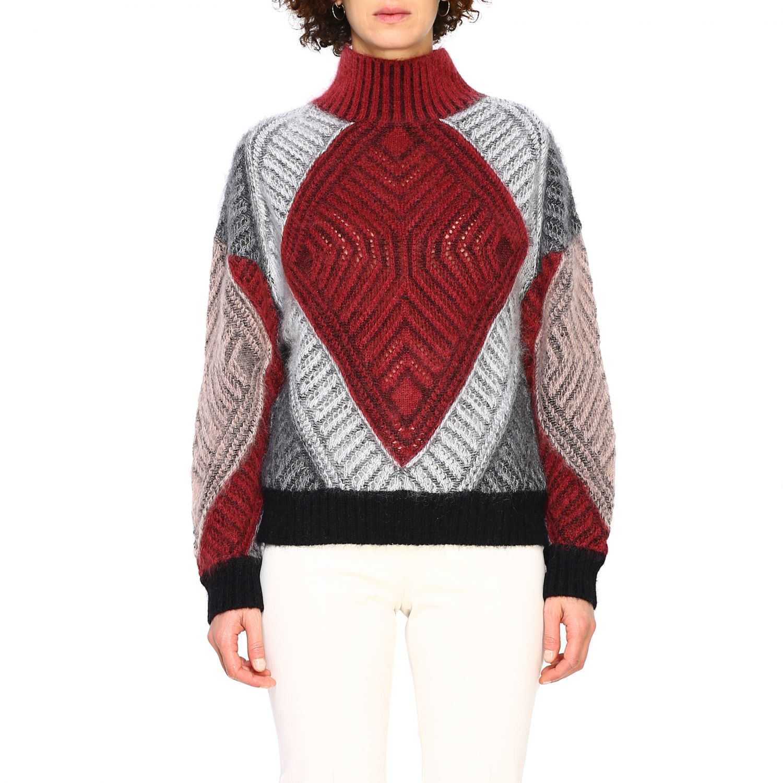 毛衣 Alberta Ferretti: Alberta Ferretti 马海毛羊毛毛衣 酒红 1