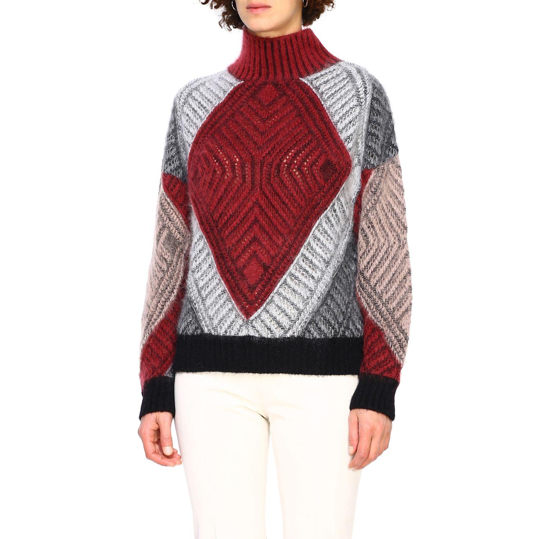 毛衣 Alberta Ferretti: Alberta Ferretti 马海毛羊毛毛衣 酒红 4