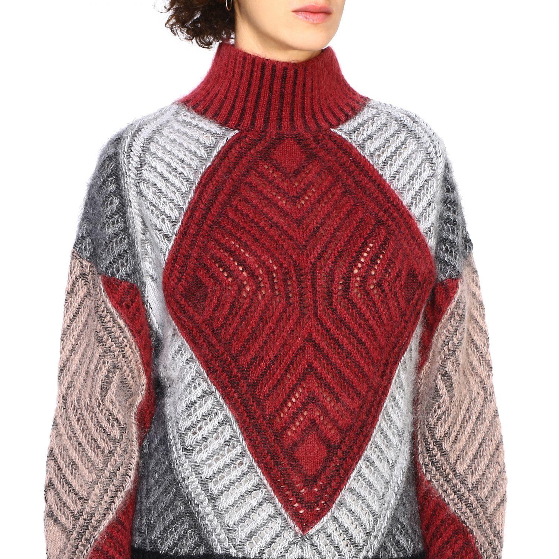 毛衣 Alberta Ferretti: Alberta Ferretti 马海毛羊毛毛衣 酒红 5