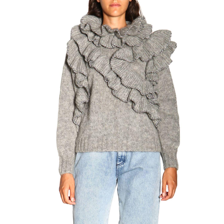 Sweater Alberta Ferretti: Alberta Ferretti sweater in Mohair wool with ruffles grey 1