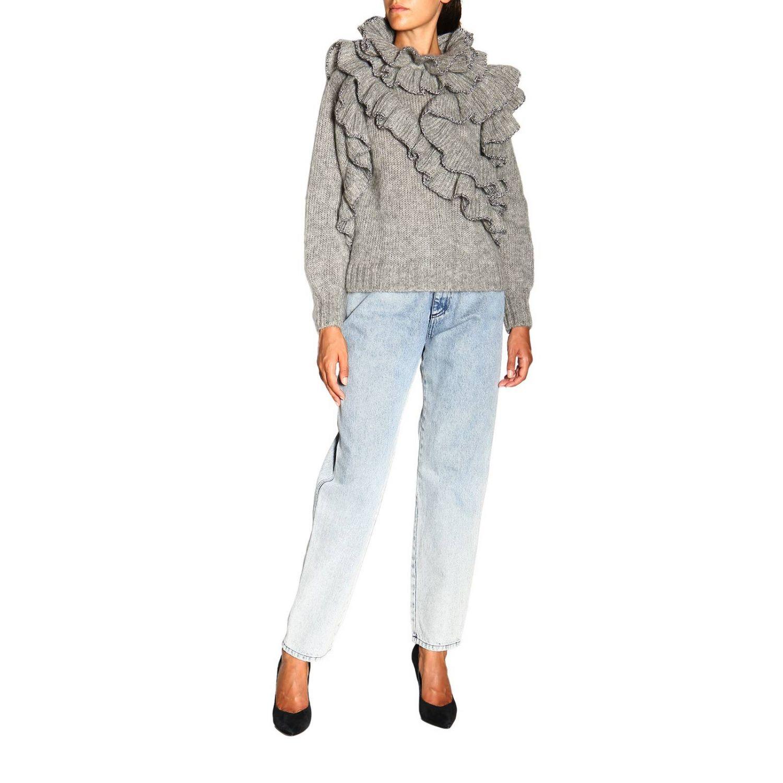 Sweater Alberta Ferretti: Alberta Ferretti sweater in Mohair wool with ruffles grey 2