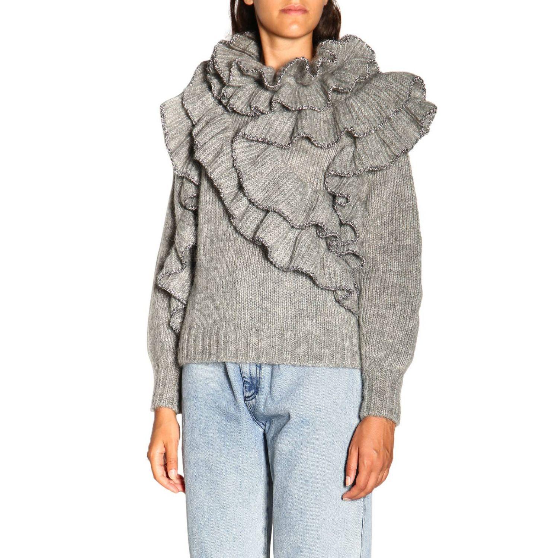 Sweater Alberta Ferretti: Alberta Ferretti sweater in Mohair wool with ruffles grey 4