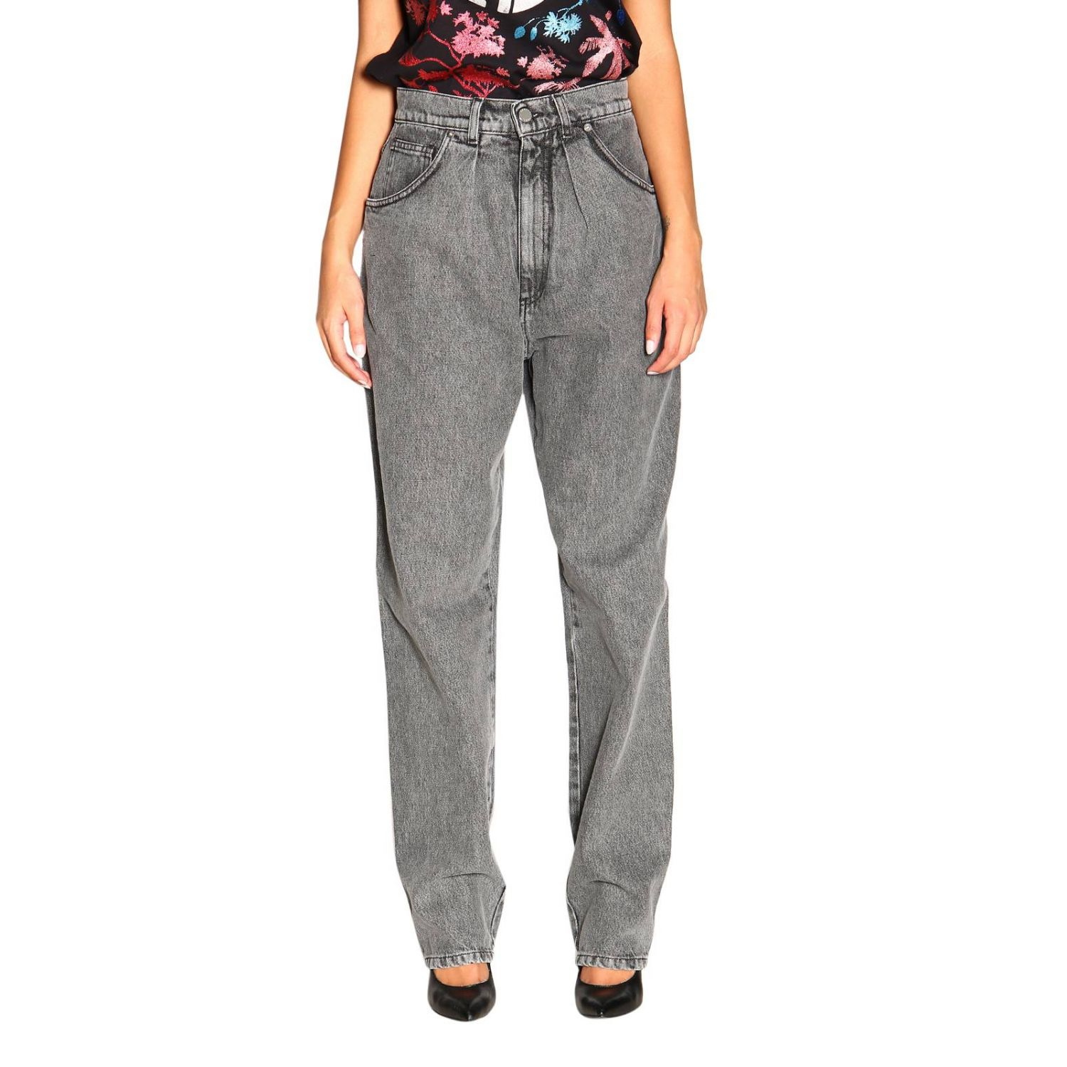 Jeans Alberta Ferretti: Alberta Ferretti high waisted jeans in used effect denim grey 1