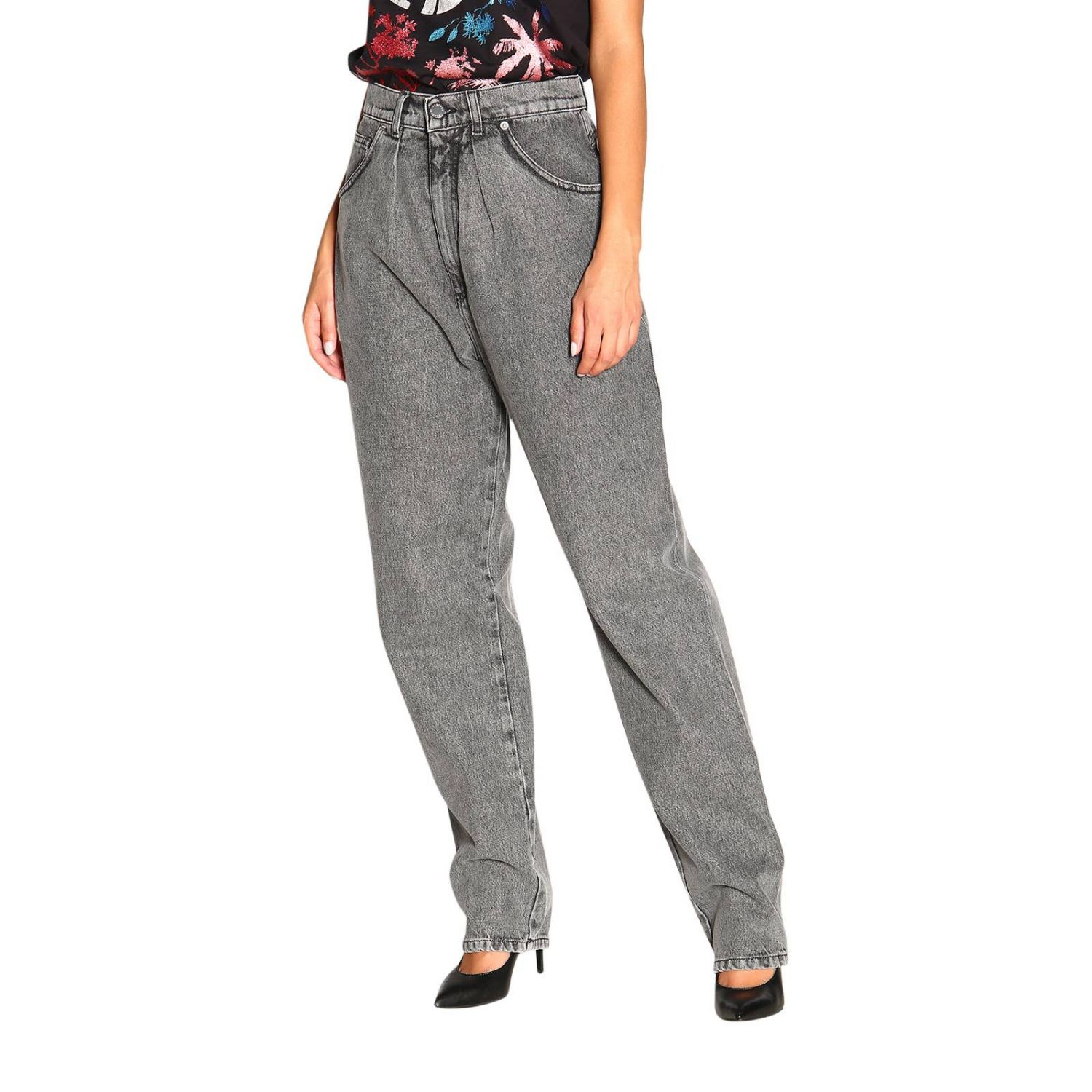 Jeans Alberta Ferretti: Alberta Ferretti high waisted jeans in used effect denim grey 4