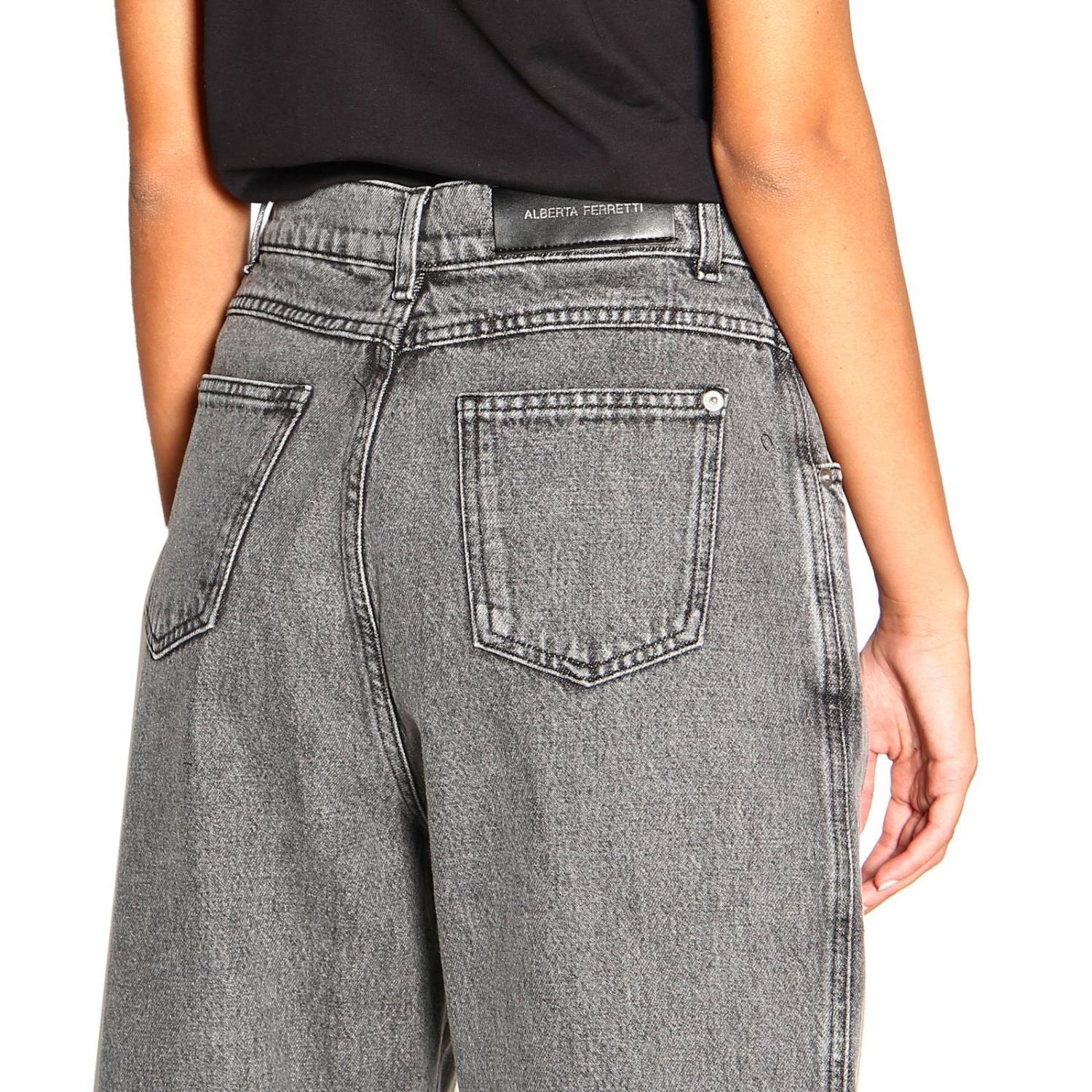 Jeans Alberta Ferretti: Alberta Ferretti high waisted jeans in used effect denim grey 5