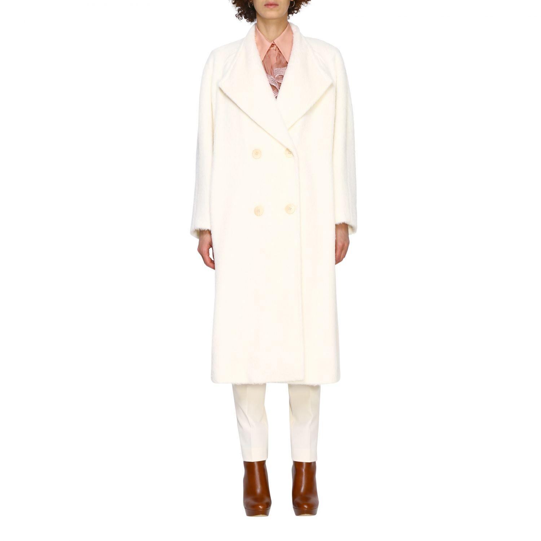 Cappotto Alberta Ferretti: Cappotto Alberta Ferretti lungo a doppiopetto in mohair bianco 1