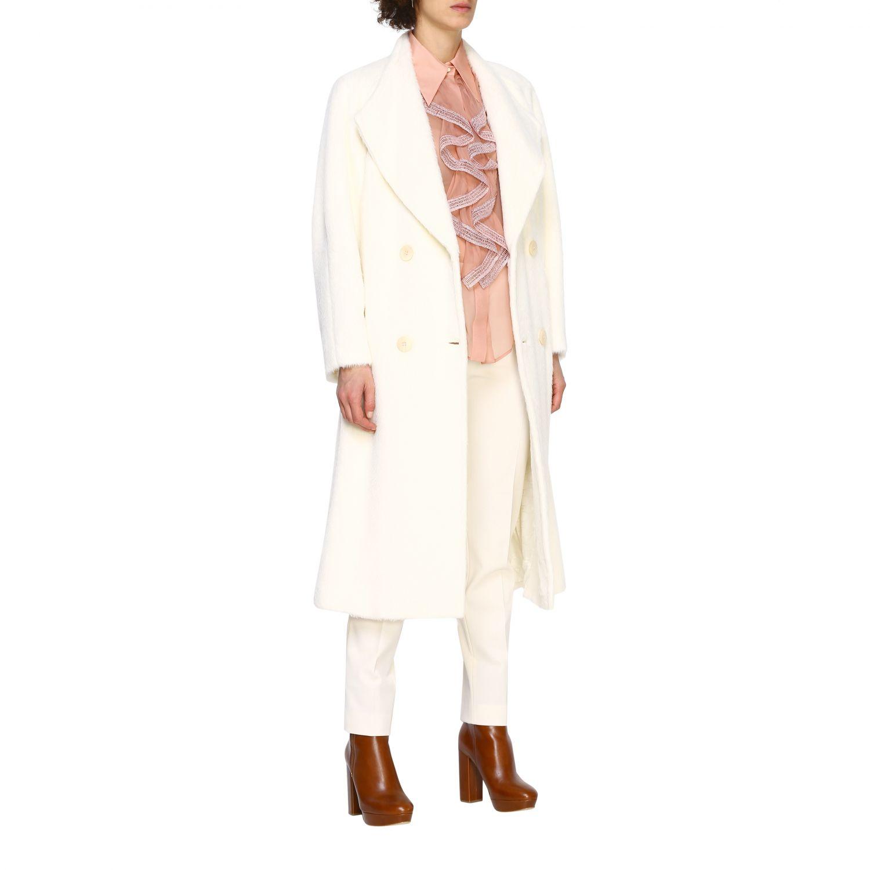 Cappotto Alberta Ferretti: Cappotto Alberta Ferretti lungo a doppiopetto in mohair bianco 2