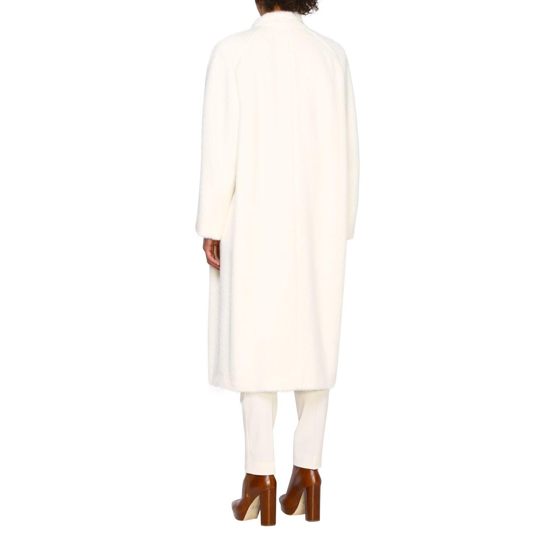 Cappotto Alberta Ferretti: Cappotto Alberta Ferretti lungo a doppiopetto in mohair bianco 3