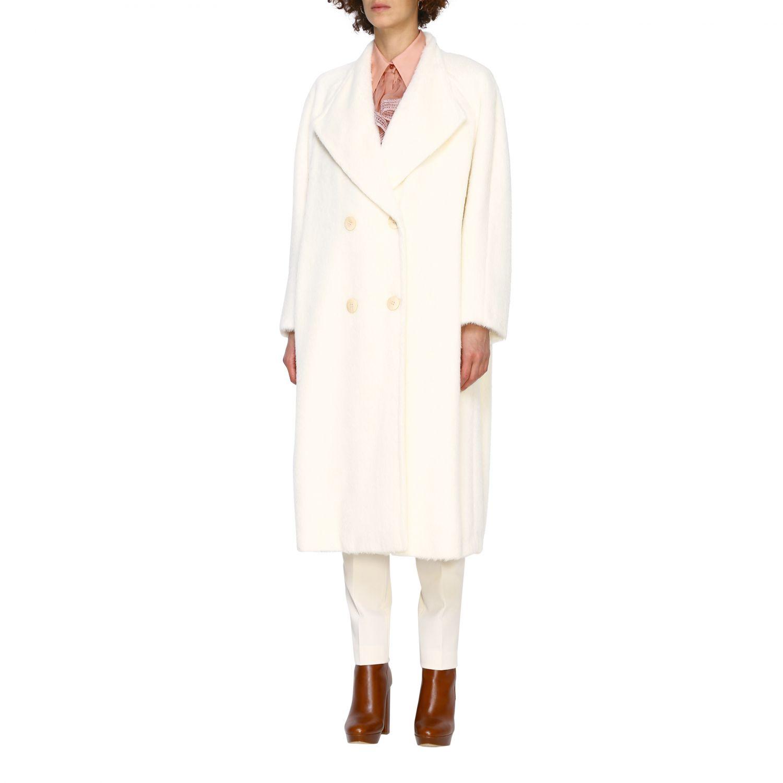 Cappotto Alberta Ferretti: Cappotto Alberta Ferretti lungo a doppiopetto in mohair bianco 4