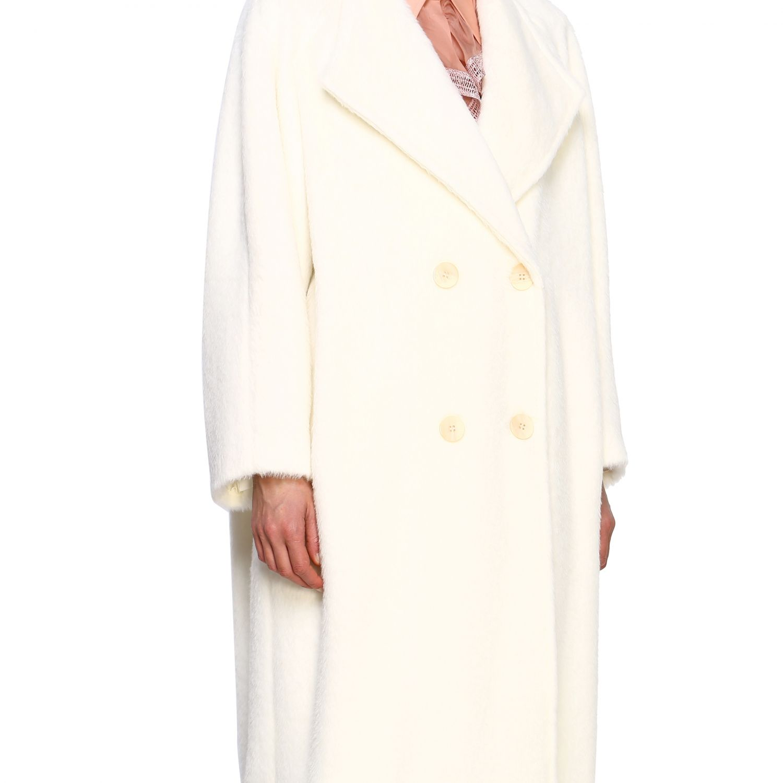 Cappotto Alberta Ferretti: Cappotto Alberta Ferretti lungo a doppiopetto in mohair bianco 5