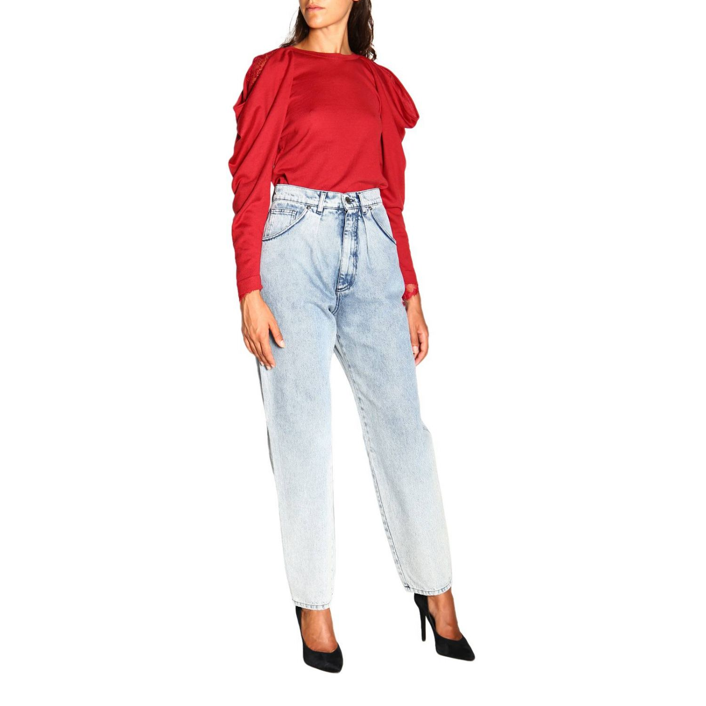 Jeans Alberta Ferretti: Alberta Ferretti high waisted jeans in used effect denim stone washed 2