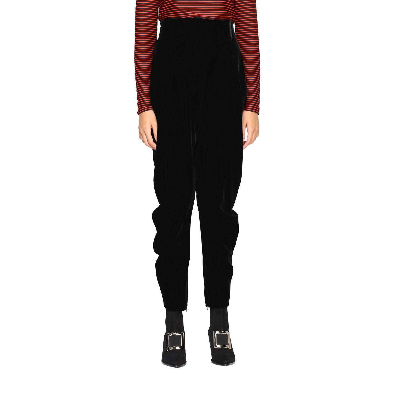Pantalone Giorgio Armani in stile cavallerizza a vita alta in velluto nero 1