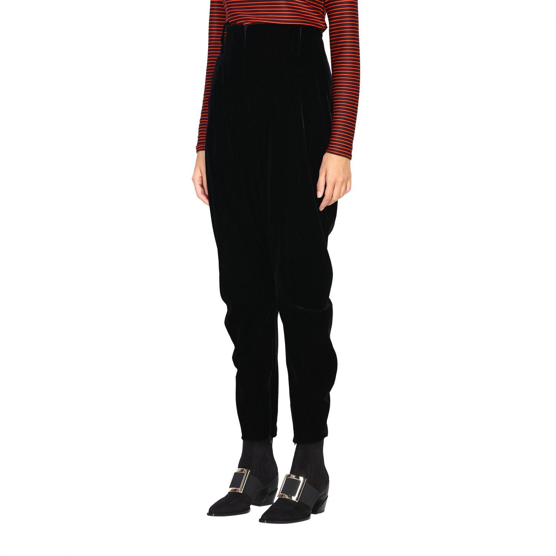 Pantalone Giorgio Armani in stile cavallerizza a vita alta in velluto nero 4