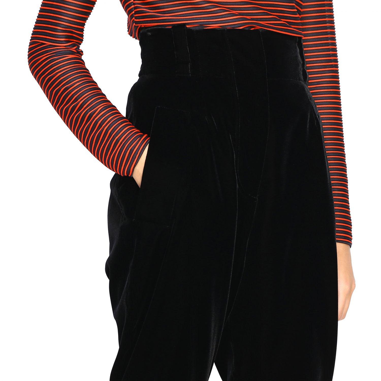 Pantalone Giorgio Armani in stile cavallerizza a vita alta in velluto nero 5
