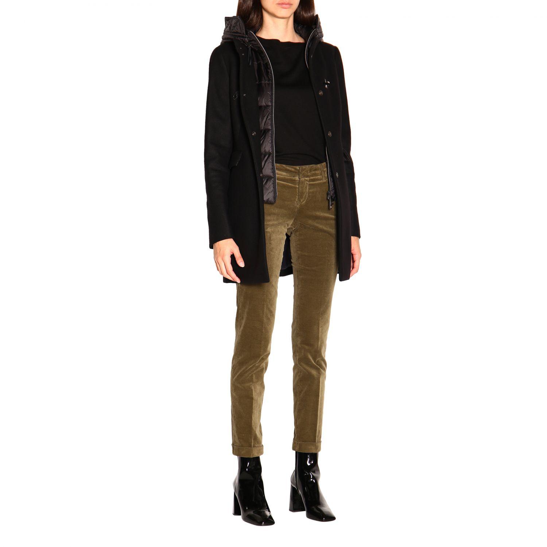 Cappotto Double front Fay con alamari in panno e nylon con cappuccio