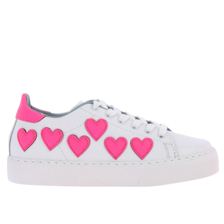 Sneakers Chiara Ferragni stringata in pelle liscia con maxi cuori fluo bianco 1