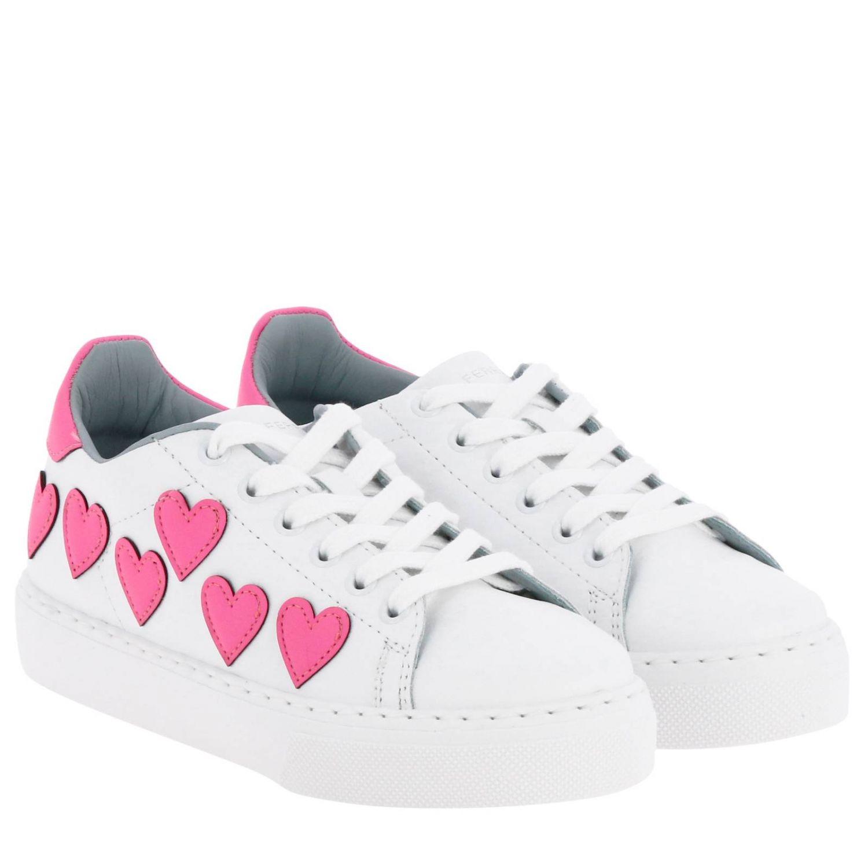 Sneakers Chiara Ferragni stringata in pelle liscia con maxi cuori fluo bianco 2