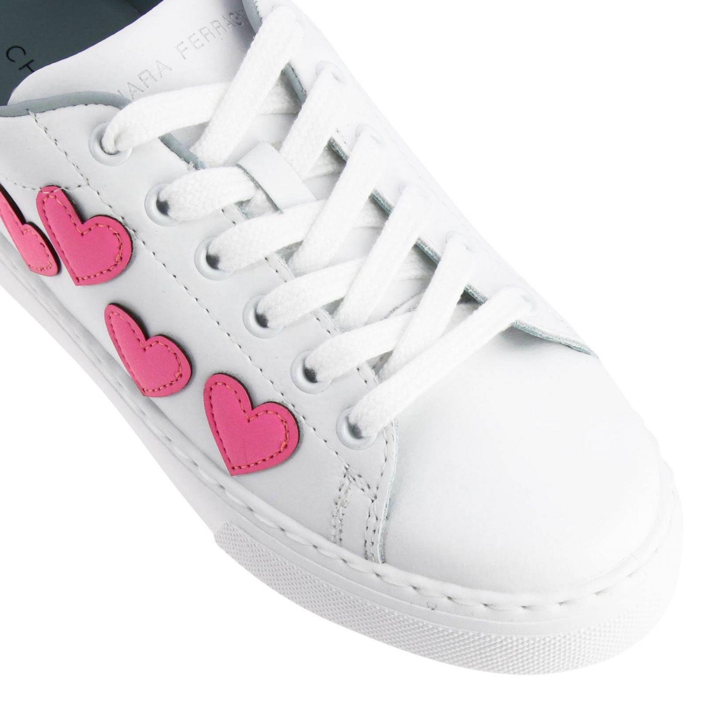 Sneakers Chiara Ferragni stringata in pelle liscia con maxi cuori fluo bianco 3
