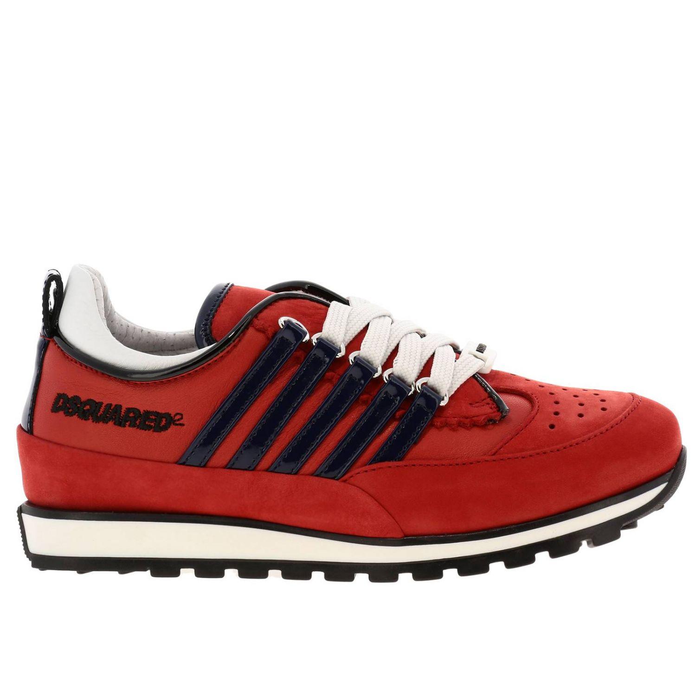 Sneakers DSquared2 in nabuk e vernice rosso 1
