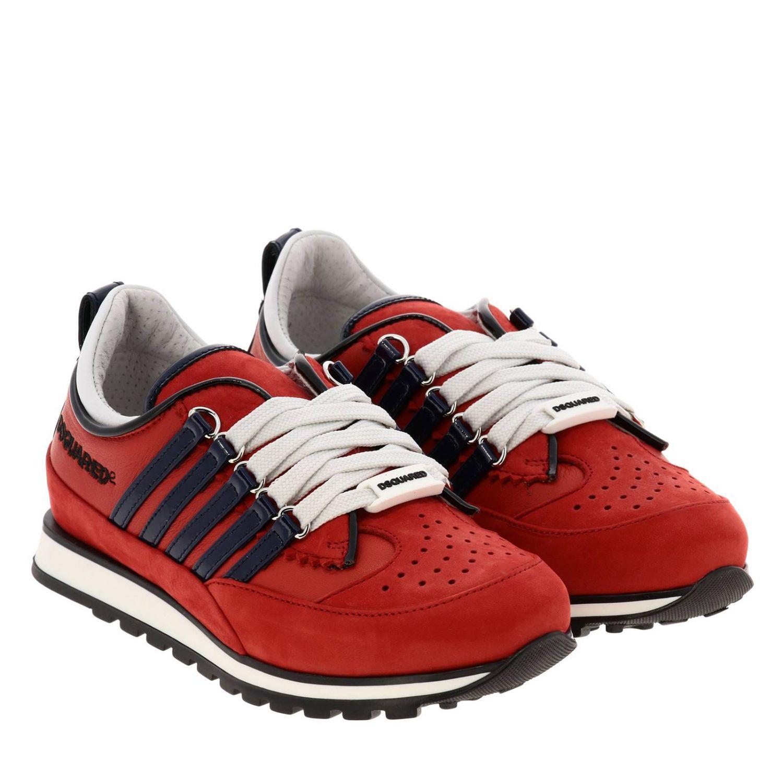 Sneakers DSquared2 in nabuk e vernice rosso 2