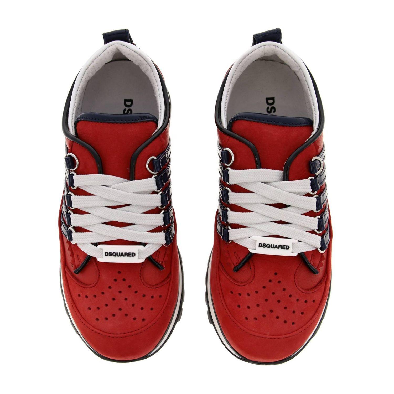 Sneakers DSquared2 in nabuk e vernice rosso 3