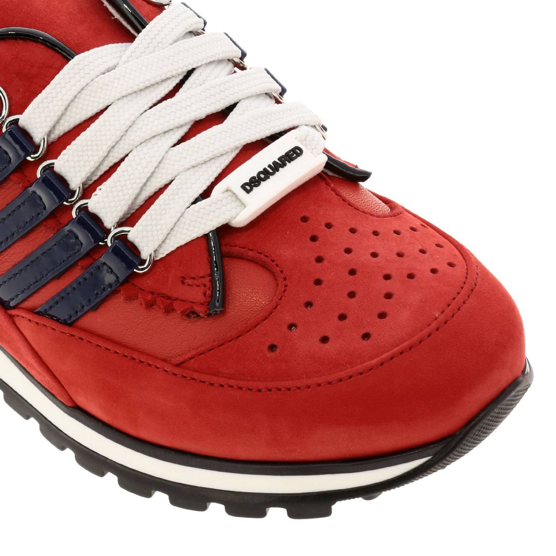 Sneakers DSquared2 in nabuk e vernice rosso 4