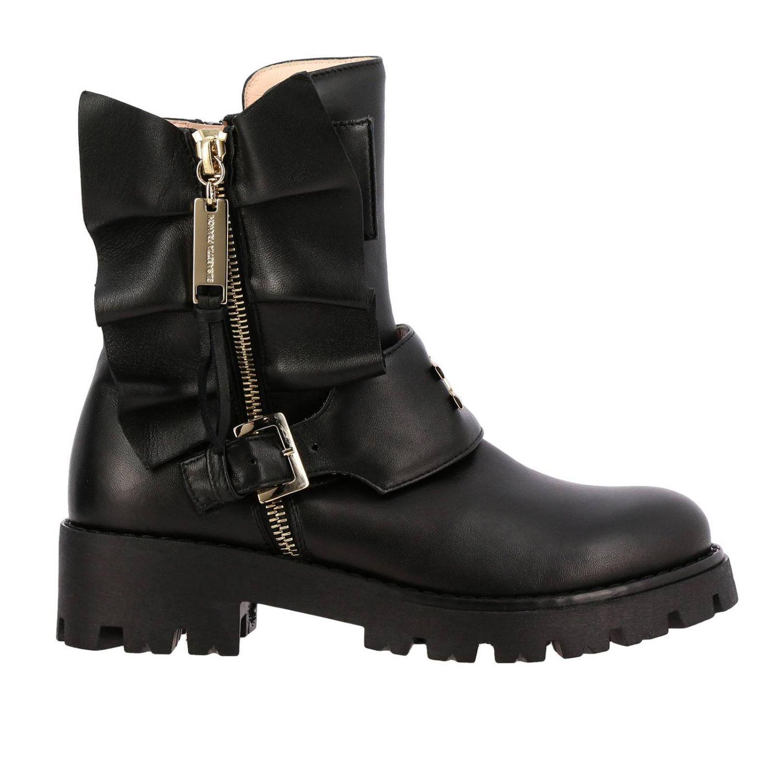 Elisabetta Franchi 真皮飞边装饰logo短靴 黑色 1