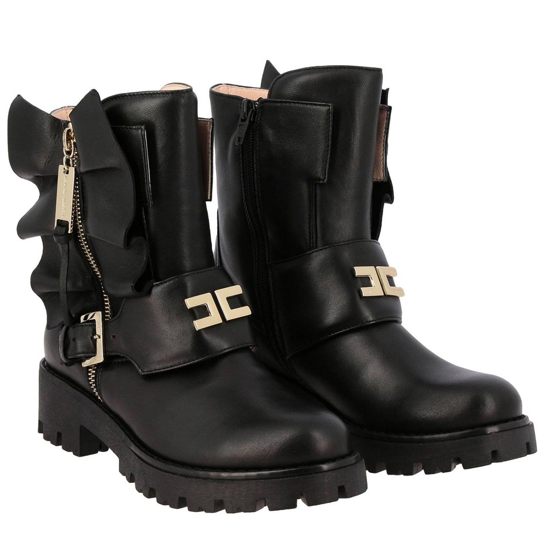 Elisabetta Franchi 真皮飞边装饰logo短靴 黑色 2
