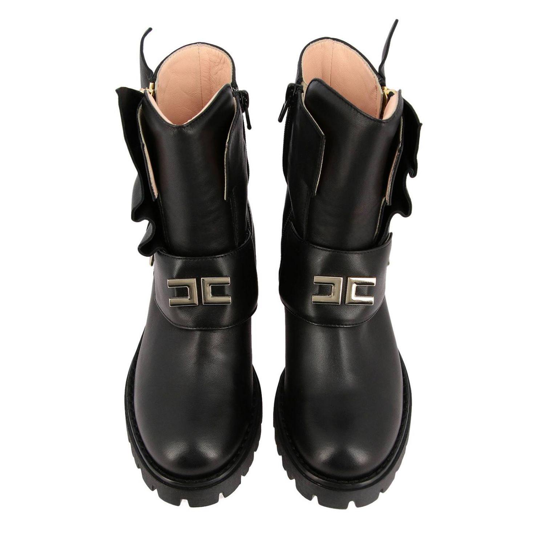 Elisabetta Franchi 真皮飞边装饰logo短靴 黑色 3