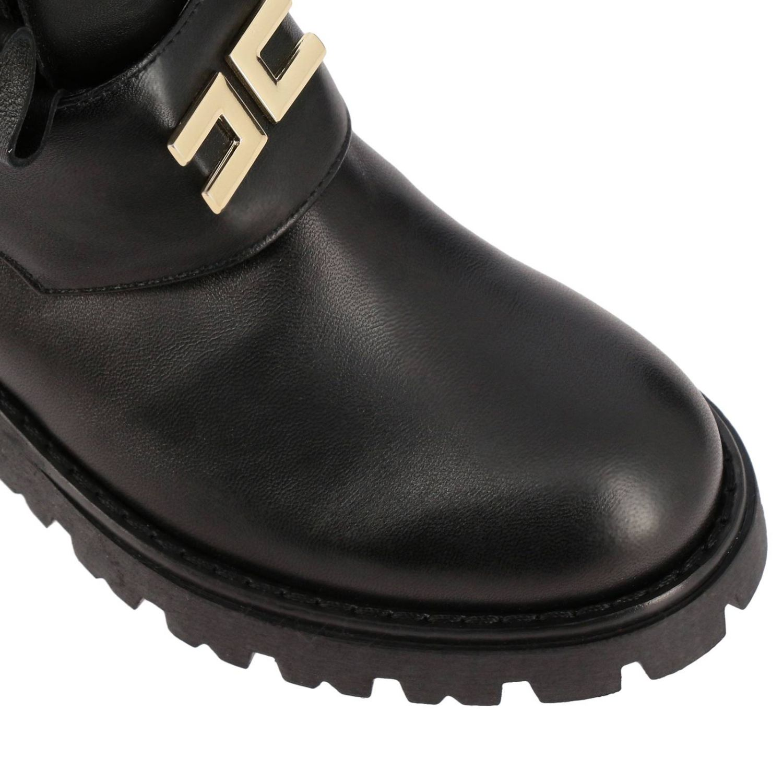 Elisabetta Franchi 真皮飞边装饰logo短靴 黑色 4