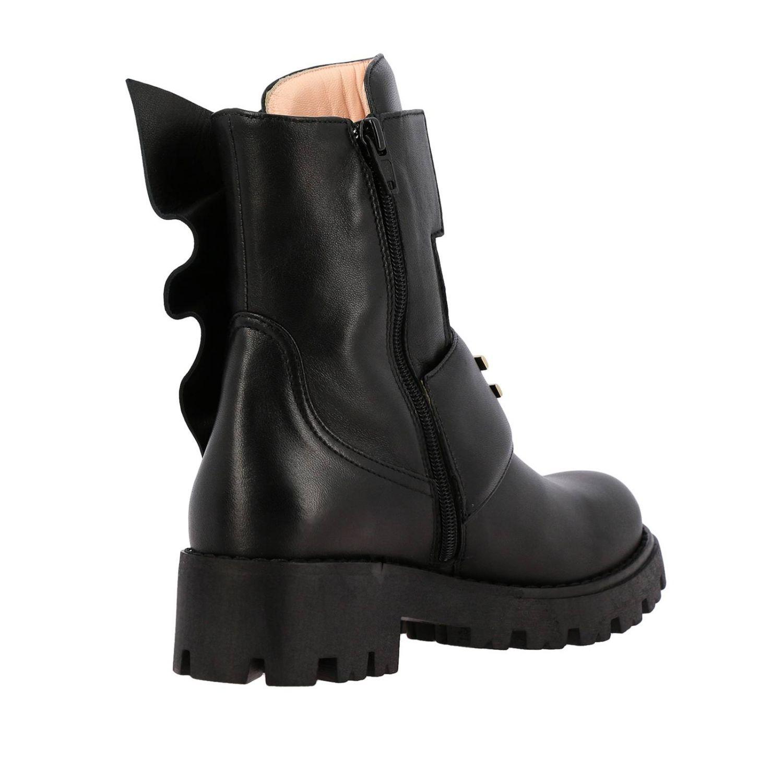 Elisabetta Franchi 真皮飞边装饰logo短靴 黑色 5