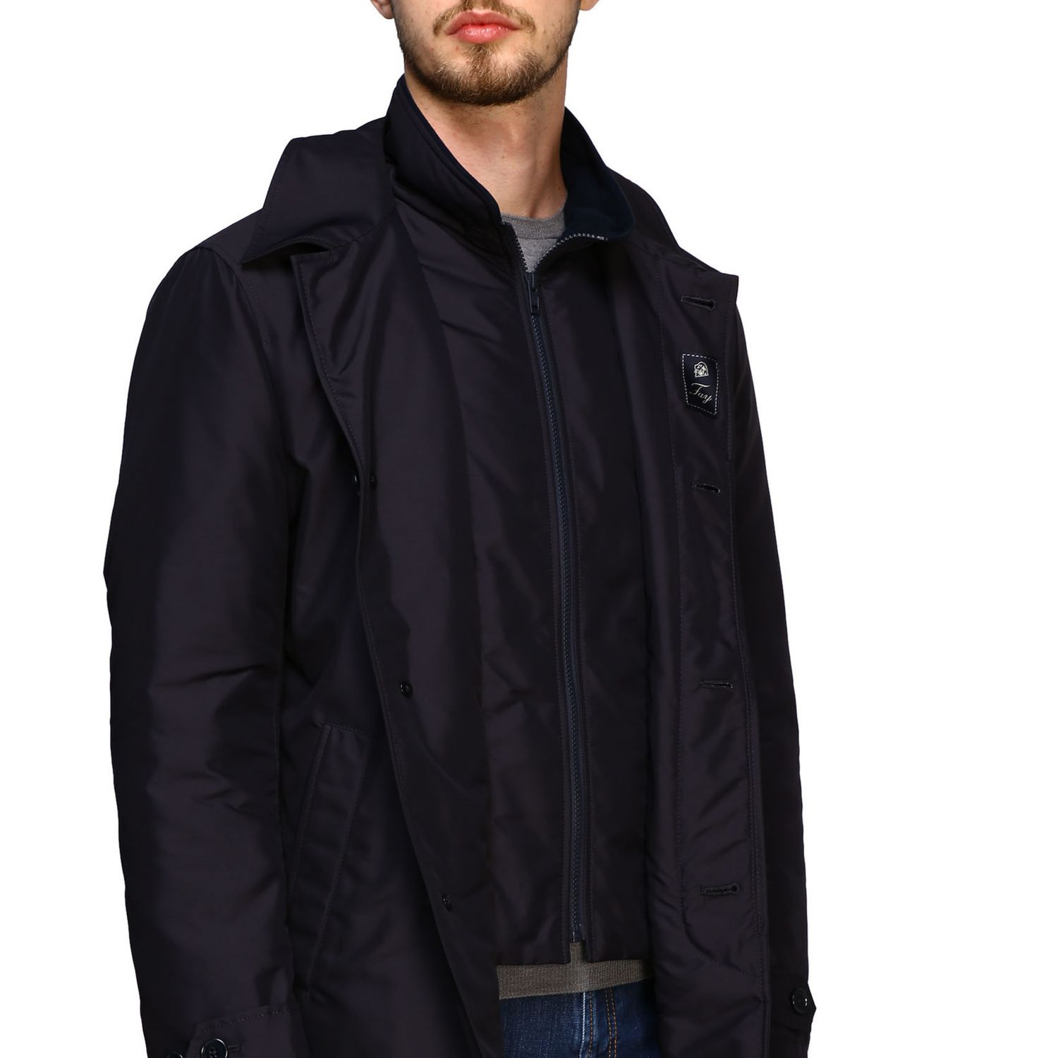 Fay Morning medium coat in waterproof nylon with gilet blue 5