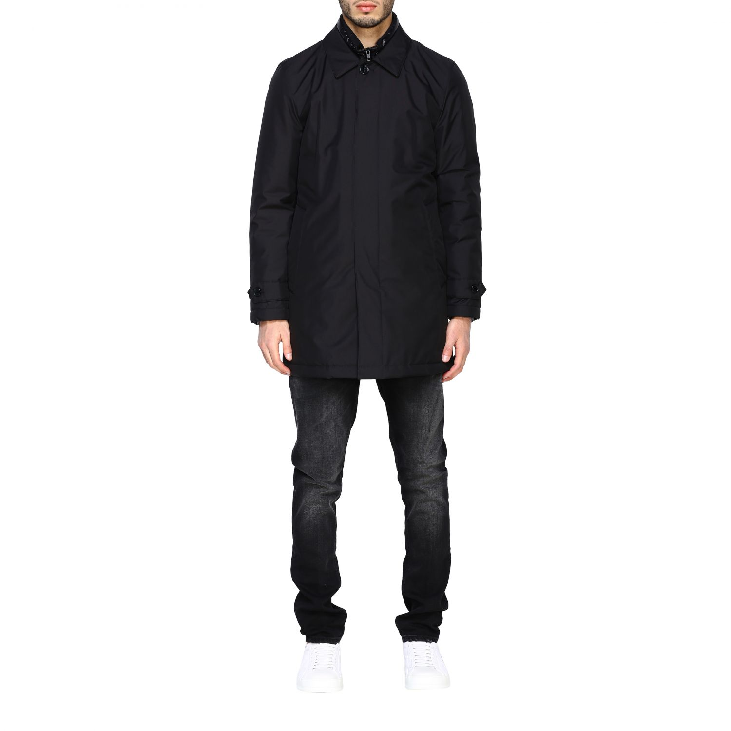 Fay Classic medium-weight outerwear in waterproof nylon with fake down jacket vest black 1