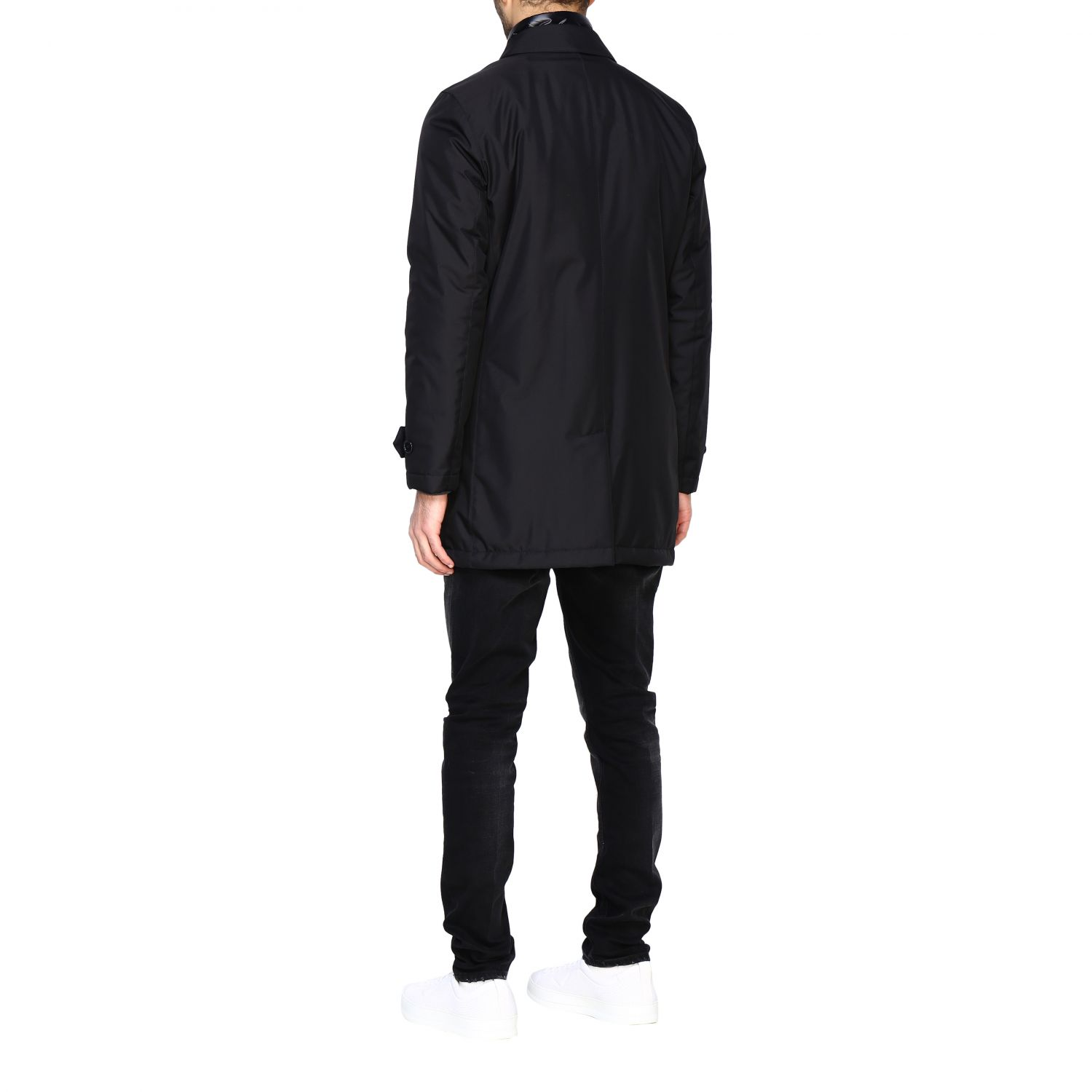 Fay Classic medium-weight outerwear in waterproof nylon with fake down jacket vest black 3