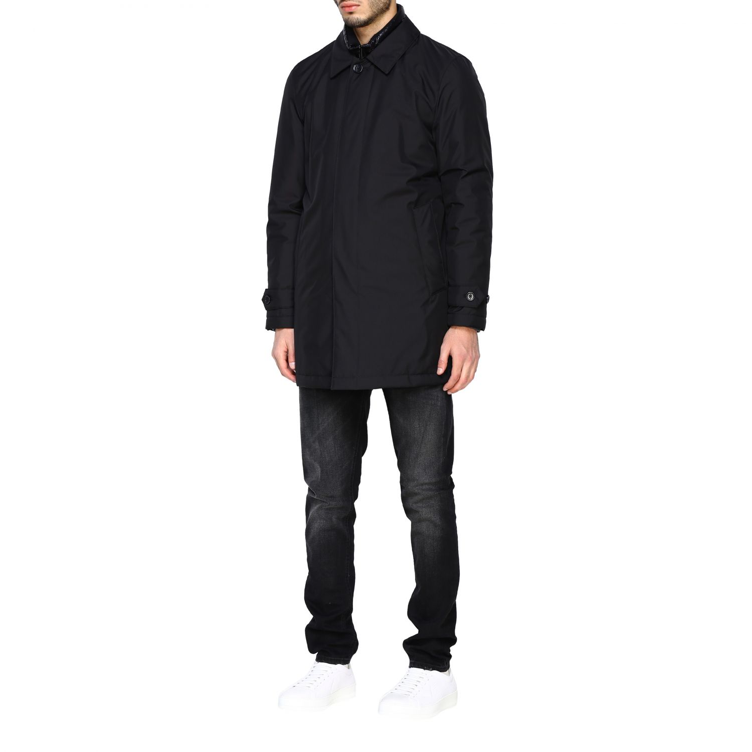 Fay Classic medium-weight outerwear in waterproof nylon with fake down jacket vest black 4
