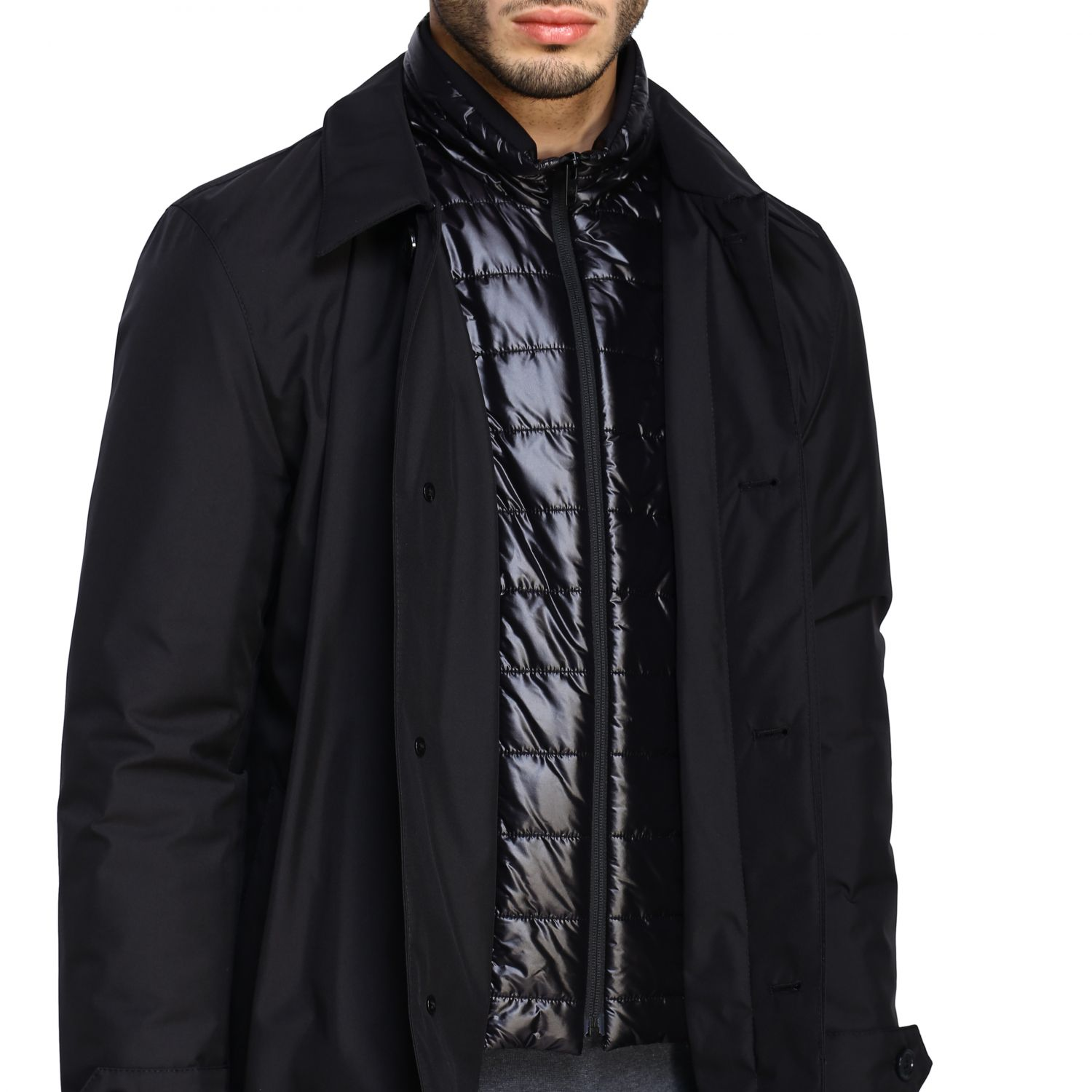 Fay Classic medium-weight outerwear in waterproof nylon with fake down jacket vest black 5