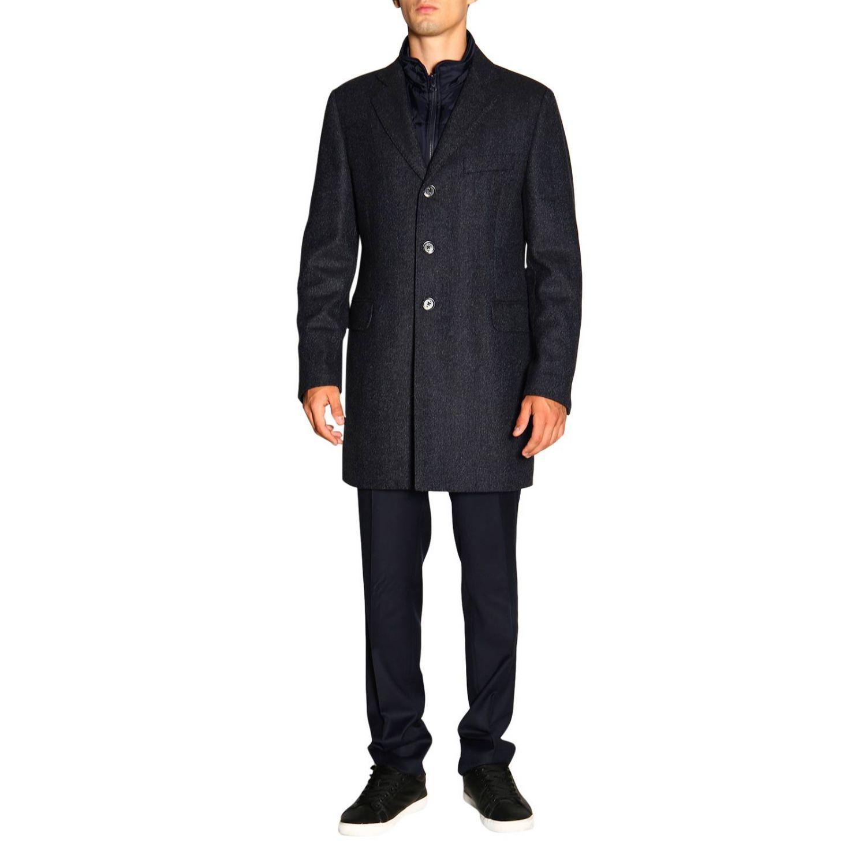 Cappotto Benjamin Fay di lana resca con gilet blue 1