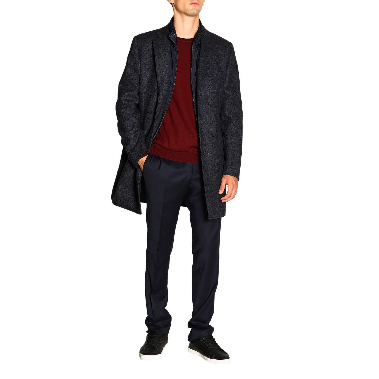 Cappotto Benjamin Fay di lana resca con gilet blue 2