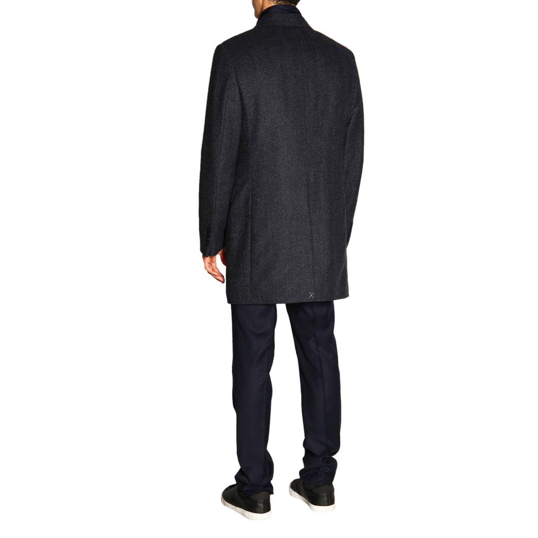 Cappotto Benjamin Fay di lana resca con gilet blue 3