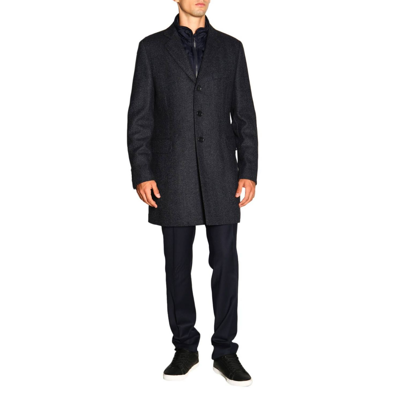Cappotto Benjamin Fay di lana resca con gilet blue 4