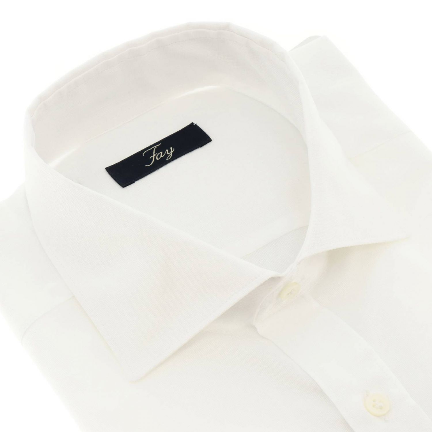 Fay fil a fil shirt with French collar white 2