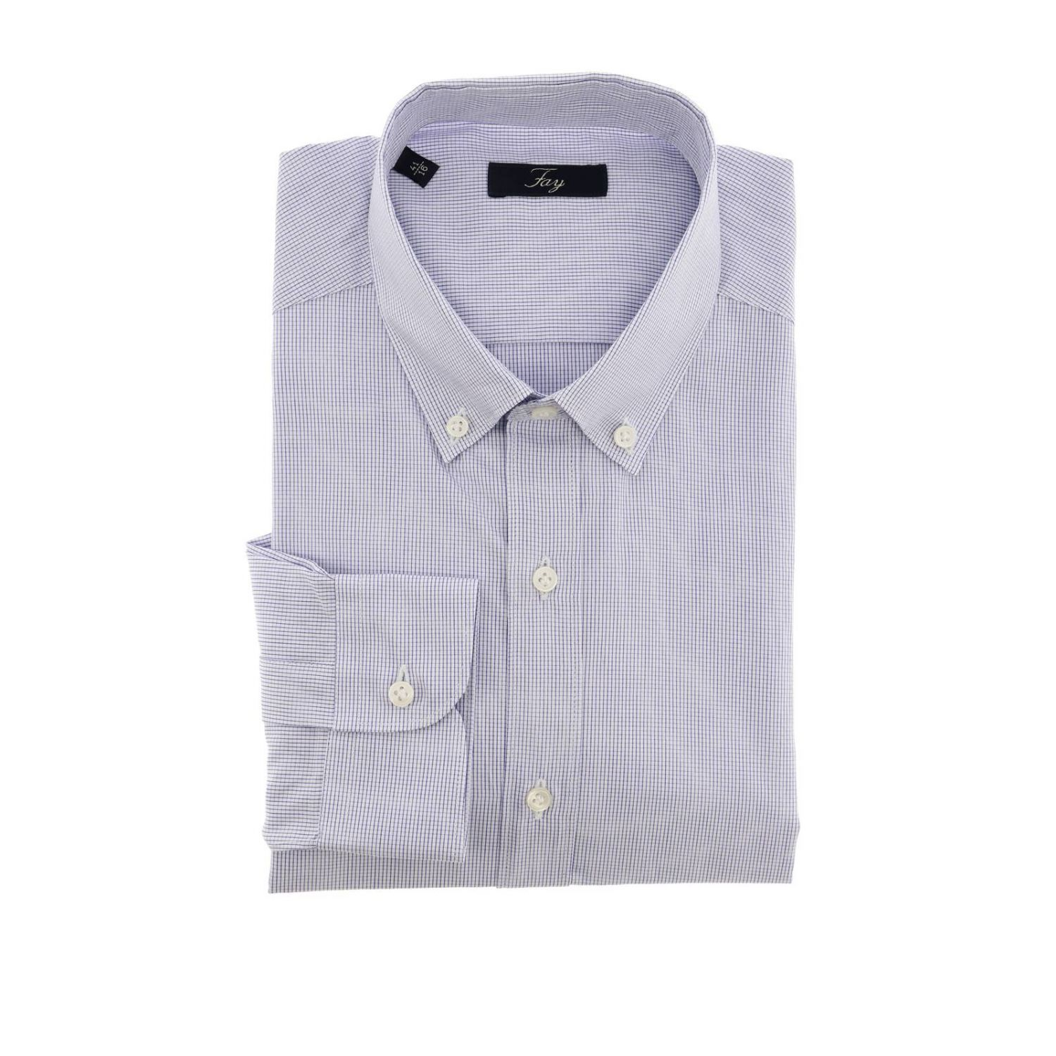 Camicia Fay a micro fantasia con collo button down azzurro 1