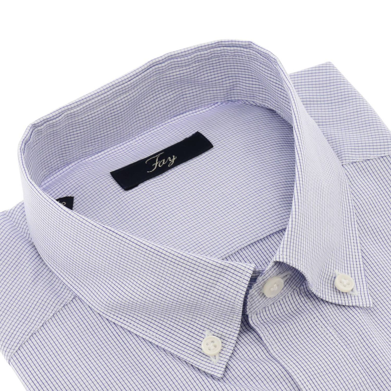 Camicia Fay a micro fantasia con collo button down azzurro 2