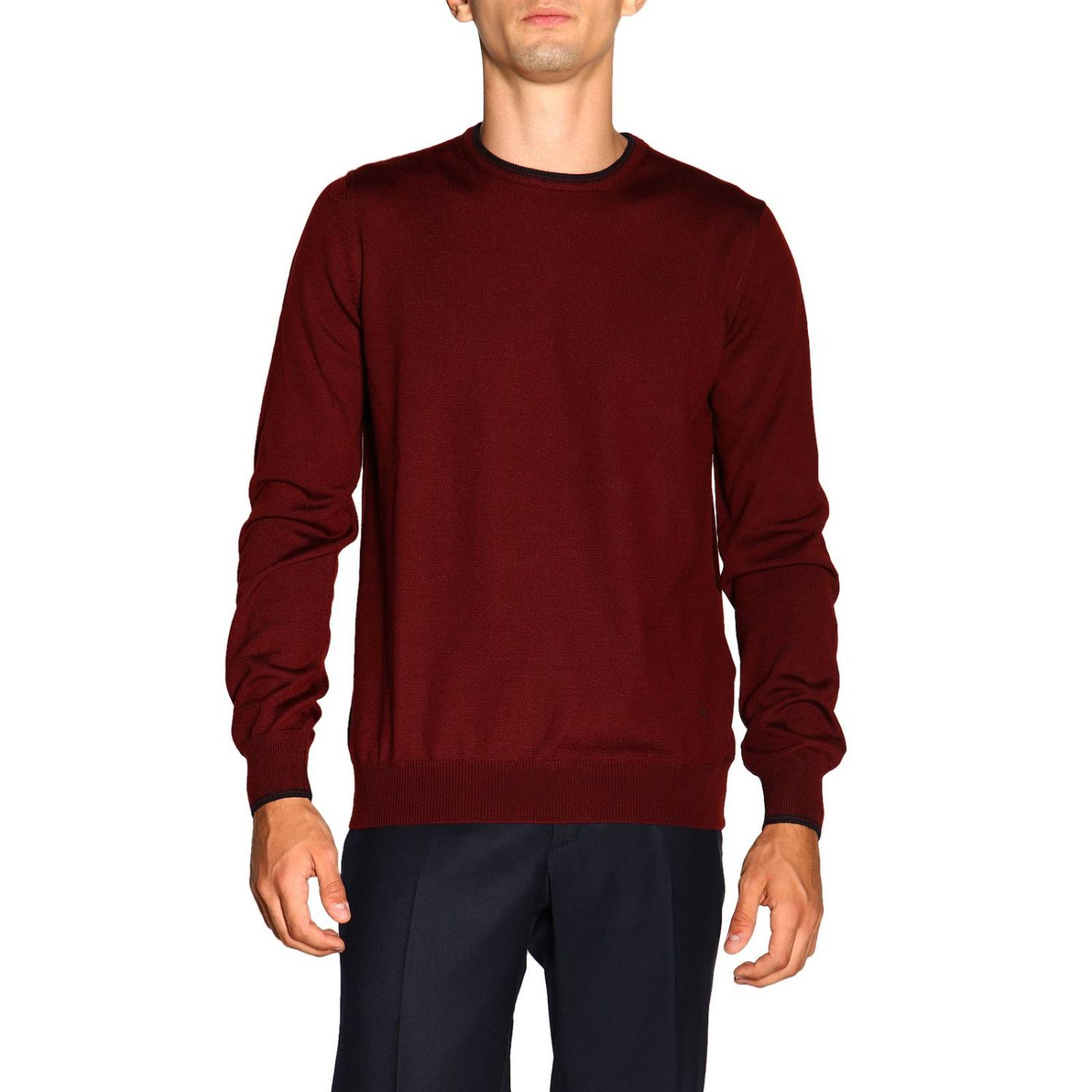 Sweater Fay: Fay sweater in Merinos wool with long sleeves and contrasting patches burgundy 1