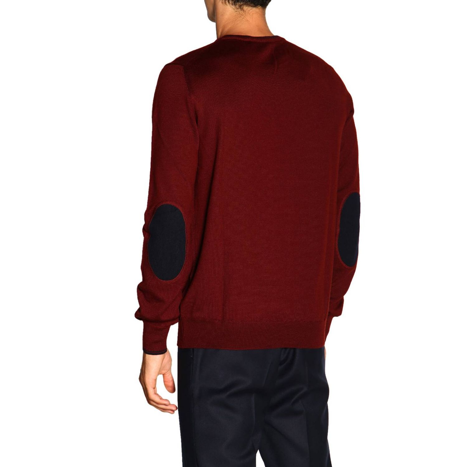 Sweater Fay: Fay sweater in Merinos wool with long sleeves and contrasting patches burgundy 3