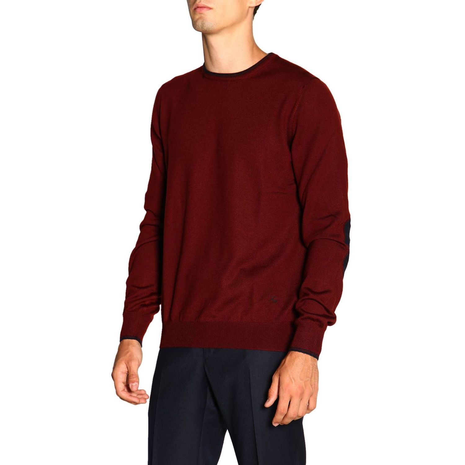 Sweater Fay: Fay sweater in Merinos wool with long sleeves and contrasting patches burgundy 4