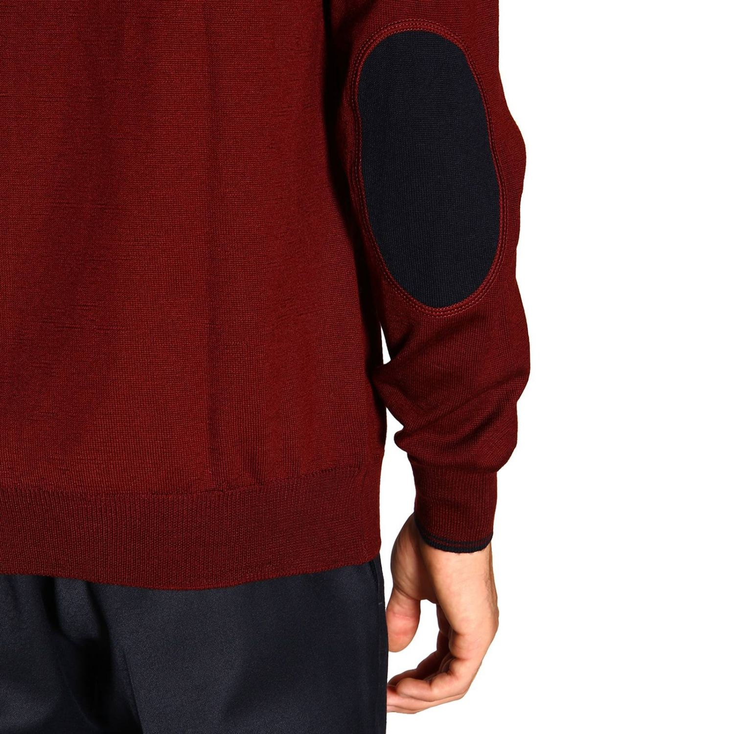 Sweater Fay: Fay sweater in Merinos wool with long sleeves and contrasting patches burgundy 5