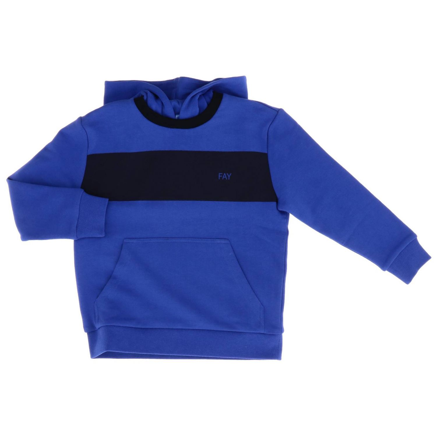 Fay sweatshirt with hood and logo blue 1