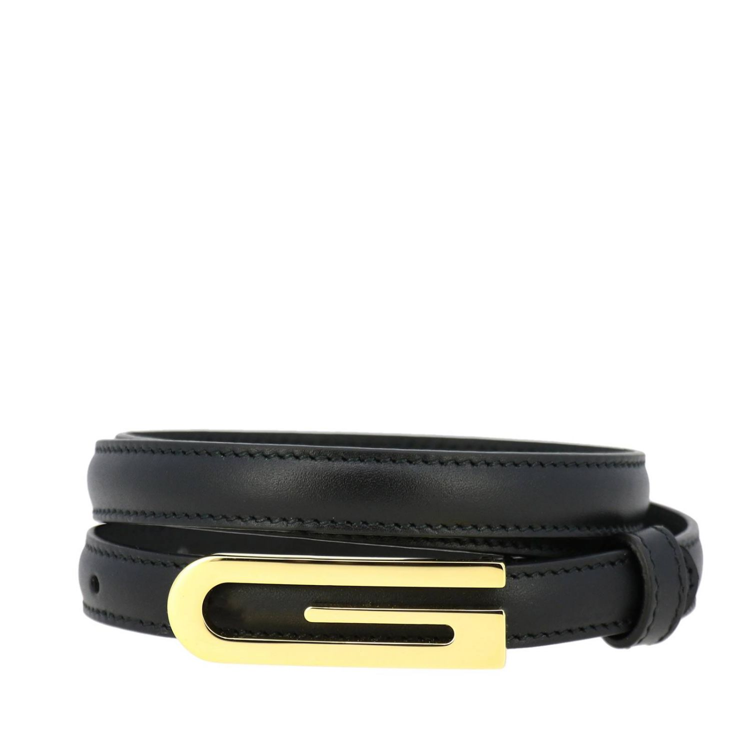 Gucci leather belt with maxi logo black 1