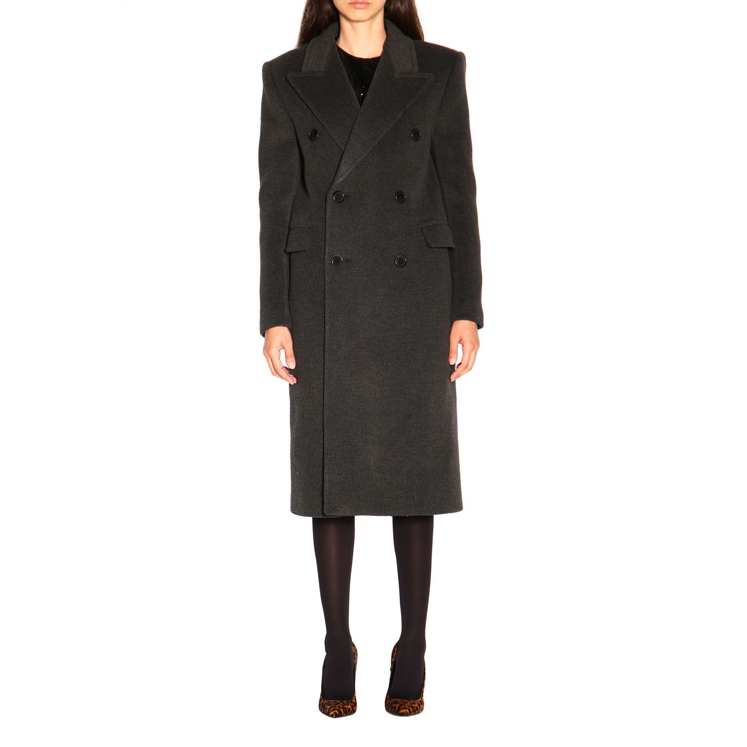Coat women Saint Laurent charcoal 1